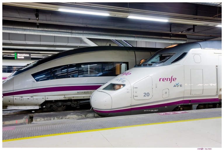 Renfe-SNCF train arriving in Barcelona