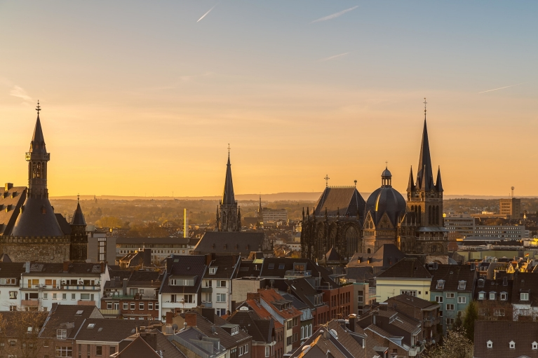 Aachen skyline at sunset