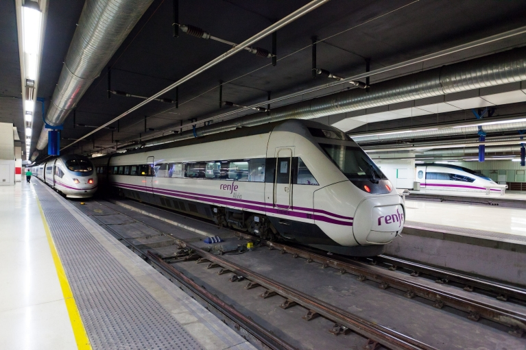 Alvia high-speed train at platform in Barcelona, Spain