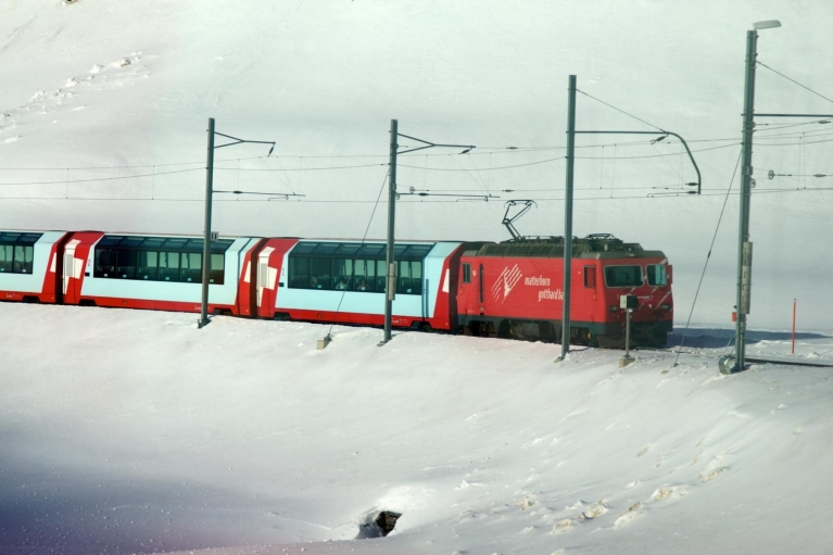 Glacier Express in snow