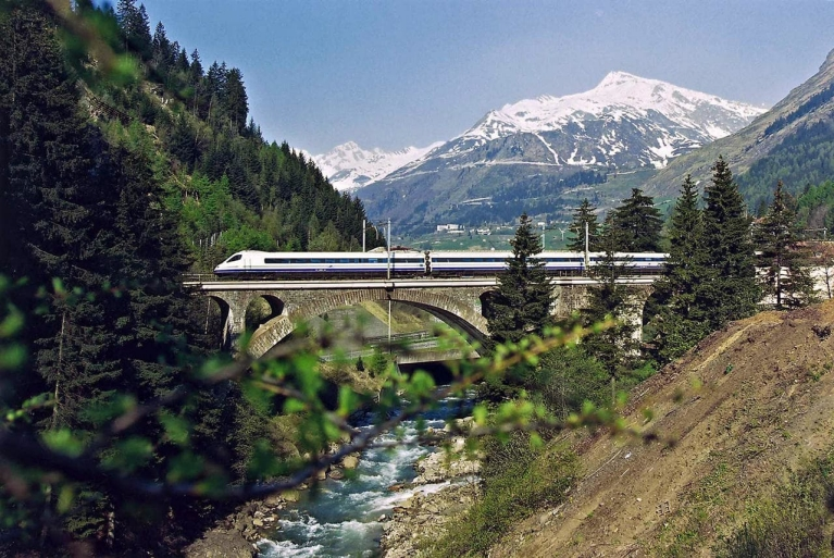 High speed train crossing a bridge, Cisalpino, Switzerland
