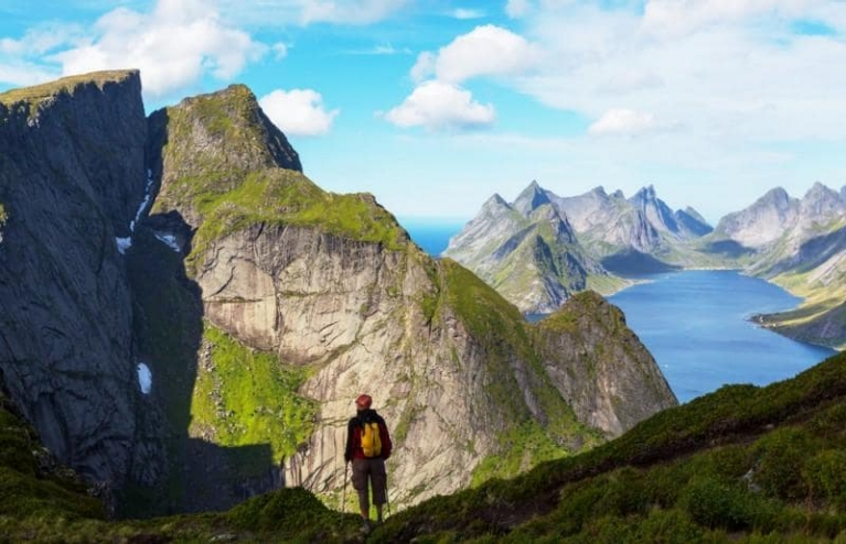 Hiker at Lofoten island Norway