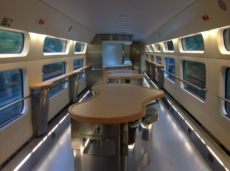 Dining car with standing tables