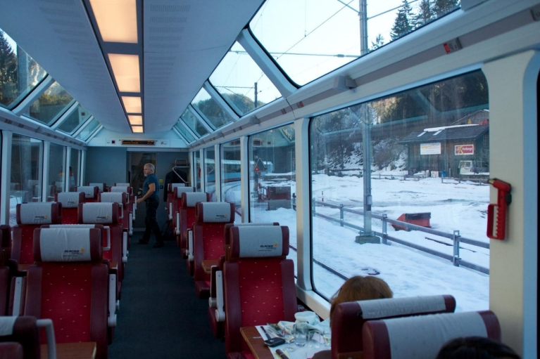 Panoramic windows in Glacier Express