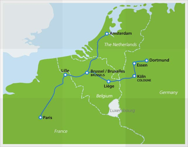 Map with Thalys routes