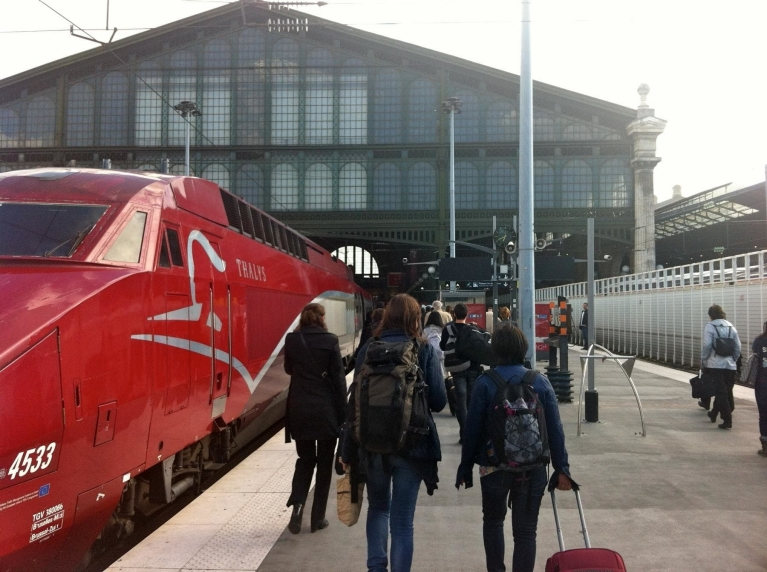 Thalys train at platform Paris Gare du Nord