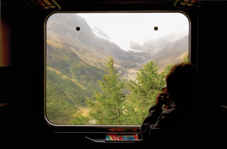 View out of the window of Swiss trains