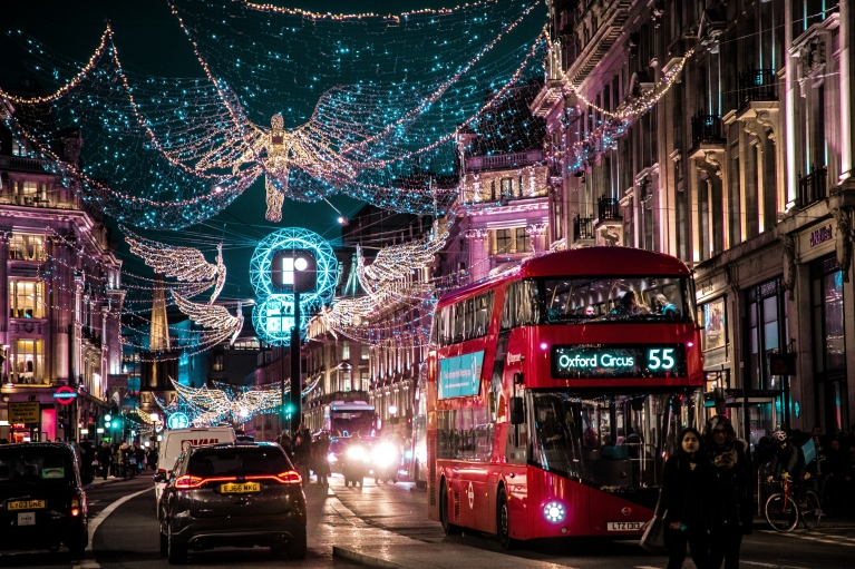 The streets of London in the holiday season