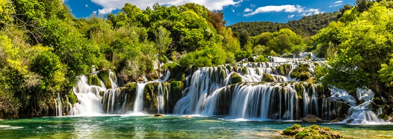 The Krka waterfalls in Croatia on a sunny day